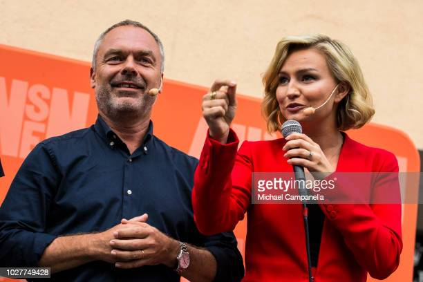 Jan Bjorklund leader of the Liberal party and Ebba Busch Thor leader of the Christian Democrats party campaign at Dragarbrunns Square ahead of the...