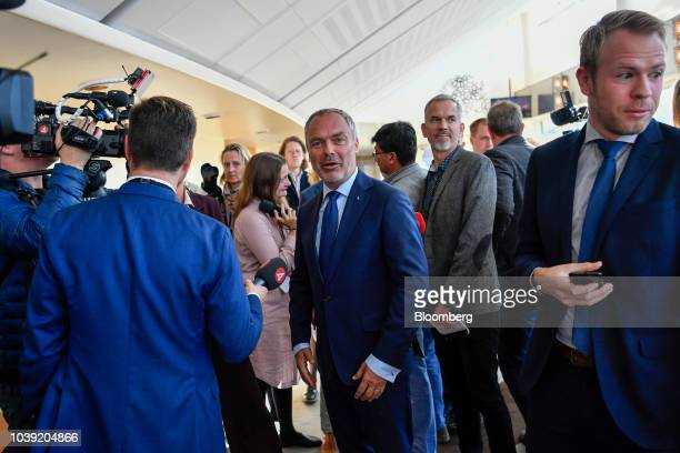 Anders Norlen newlyelected speaker speaks during a news conference at the Parliament in Stockholm Sweden on Monday Sept 24 2018 The 349person...