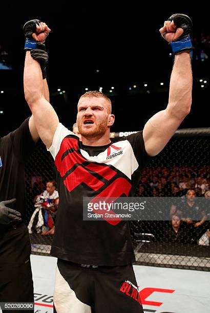 Jan Blachowicz celebrates his victory over Igor Pokrajac in their light heavyweight bout during the UFC Fight Night event at the Arena Zagreb on...