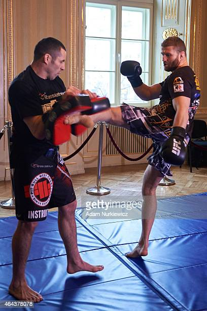 Jan Blachowicz from Poland during a UFC training session in Piwnica Pod Baranami Restaurant on February 25 2015 in Krakow Poland