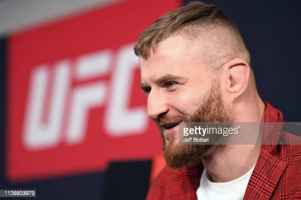 Jan Blachowicz interacts with the media during the UFC Fight Night Ultimate Media Day at Prague Marriott Hotel on February 21 2019 in Prague Czech...