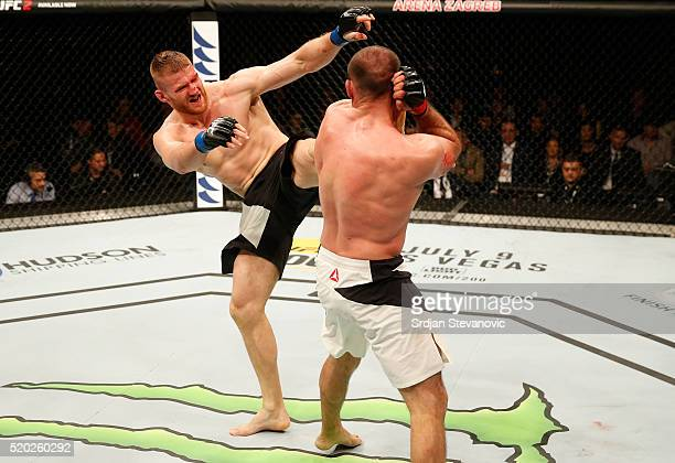 Jan Blachowicz kicks Igor Pokrajac in their light heavyweight bout during the UFC Fight Night event at the Arena Zagreb on April 10 2016 in Zagreb...
