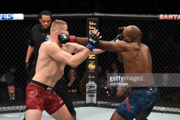 Jan Blachowicz of Poland and Corey Anderson exchange punches in their light heavyweight bout during the UFC Fight Night event at Santa Ana Star...