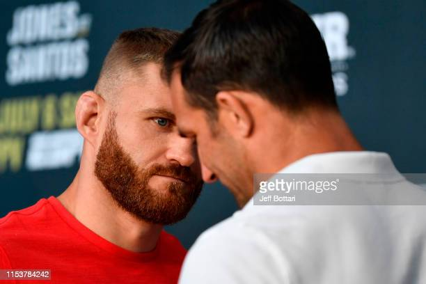 Jan Blachowicz of Poland and Luke Rockhold face off during the UFC 239 Ultimate Media Day at TMobile Arena on July 4 2019 in Las Vegas Nevada