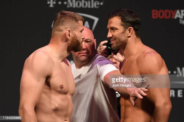 Jan Blachowicz of Poland and Luke Rockhold face off during the UFC 235 weighin at TMobile Arena on July 5 2019 in Las Vegas Nevada