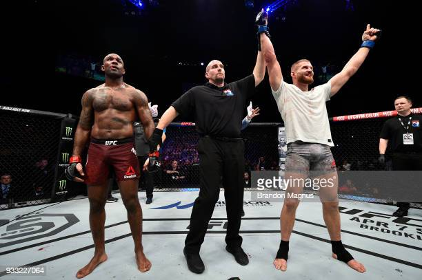 Jan Blachowicz of Poland celebrates after defeating Jimi Manuwa by unanimous decision in their light heavyweight bout inside The O2 Arena on March 17...