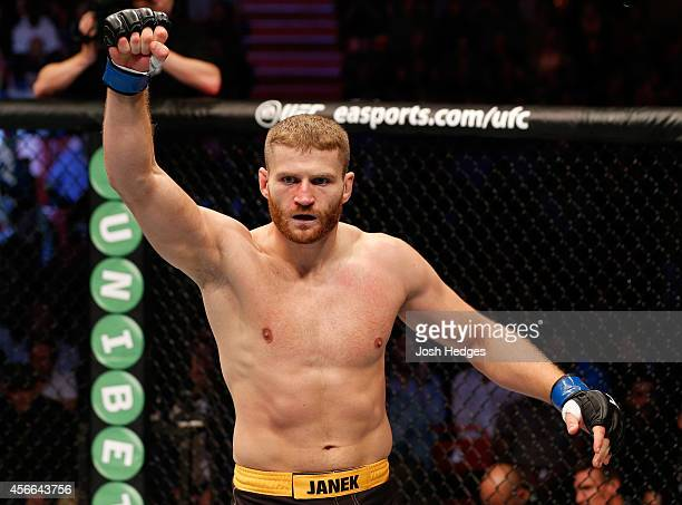Jan Blachowicz of Poland celebrates after his TKO victory over Ilir Latifi of Sweden in their light heavyweight bout at the Ericsson Globe Arena on...