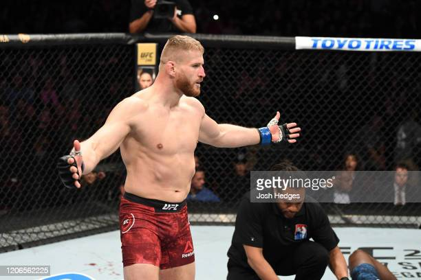 Jan Blachowicz of Poland celebrates his KO victory over Corey Anderson in their light heavyweight bout during the UFC Fight Night event at Santa Ana...