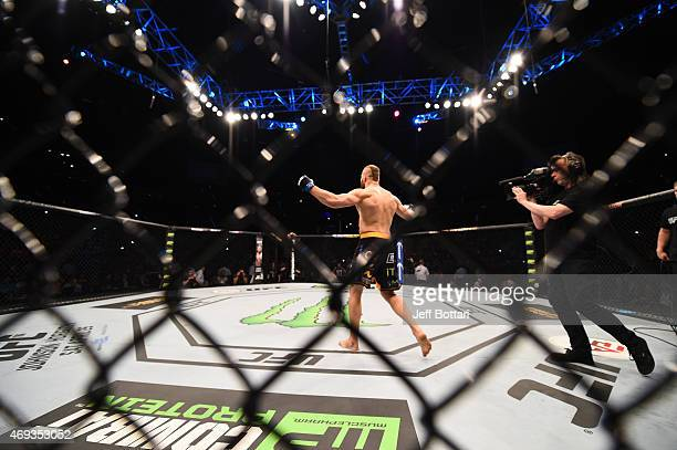 Jan Blachowicz of Poland enters the Octagon before his light heavyweight fight against Jimi Manuwa of England during the UFC Fight Night event at the...