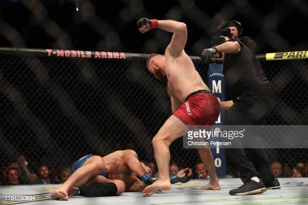 Jan Blachowicz of Poland finishes Luke Rockhold in their light heavyweight fight during the UFC 239 event at T-Mobile Arena on July 6, 2019 in Las...