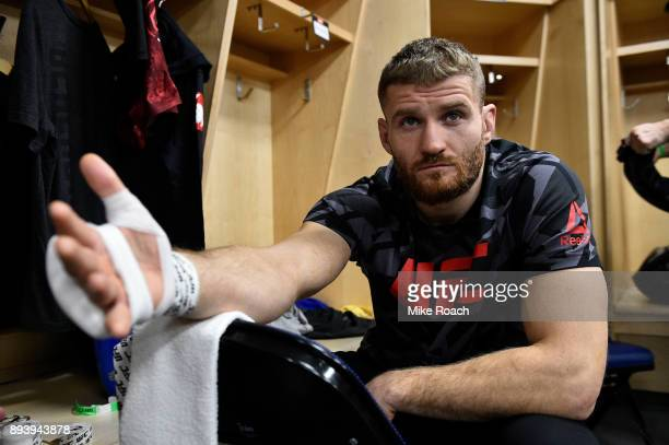 Jan Blachowicz of Poland gets his hands wrapped backstage during the UFC Fight Night event at Bell MTS Place on December 16 2017 in Winnipeg Manitoba...