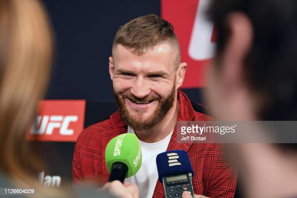 Jan Blachowicz of Poland interacts with the media during the UFC Fight Night Ultimate Media Day at Prague Marriott Hotel on February 21 2019 in...