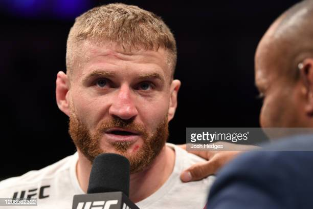 Jan Blachowicz of Poland is interviewed after his KO victory over Corey Anderson in their light heavyweight bout during the UFC Fight Night event at...