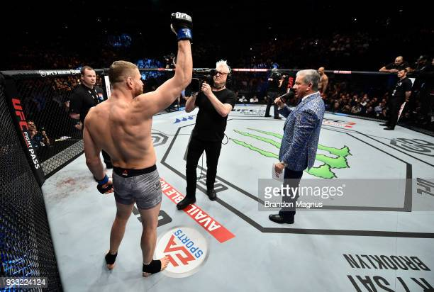 Jan Blachowicz of Poland is introduced by UFC Octagon announcer Bruce Buffer before facing Jimi Manuwa in their light heavyweight bout inside The O2...