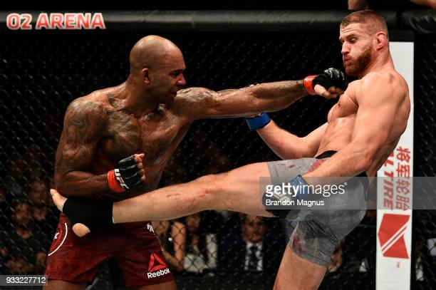 Jan Blachowicz of Poland kicks Jimi Manuwa in their light heavyweight bout inside The O2 Arena on March 17 2018 in London England
