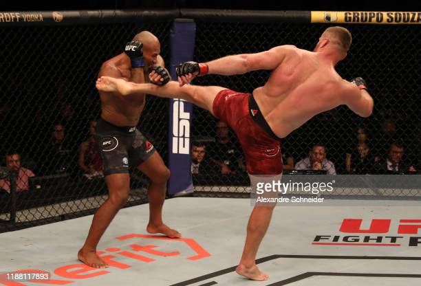 Jan Blachowicz of Poland kicks Ronaldo 'Jacare' Souza of Brazil in their light heavyweight fight during the UFC Fight Night event at Ibirapuera...