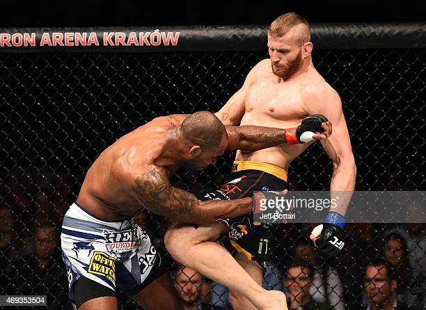 Jan Blachowicz of Poland knees Jimi Manuwa of Englandin their light heavyweight fight during the UFC Fight Night event at the Tauron Arena on April...