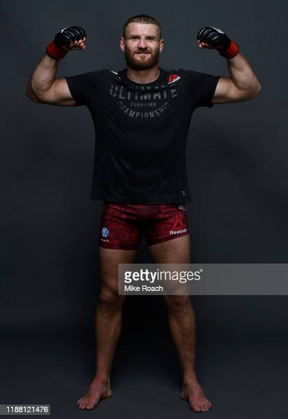 Jan Blachowicz of Poland poses for a portrait backstage after his victory over Jacare Souza during the UFC Fight Night event at Ibirapuera Gymnasium...