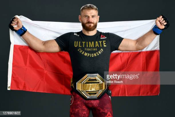 Jan Blachowicz of Poland poses for a post fight portrait backstage during UFC 253 inside Flash Forum on UFC Fight Island on September 27, 2020 in Abu...