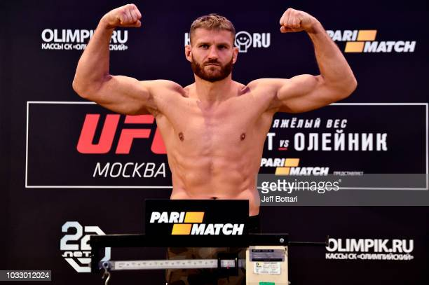 Jan Blachowicz of Poland poses on the scale during the UFC Fight Night weighin event at Hyatt Regency Moscow Petrovsky Park on September 14 2018 in...