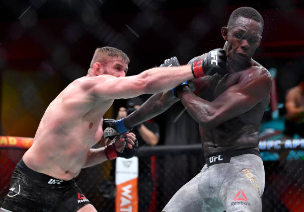 Jan Blachowicz of Poland punches Israel Adesanya of Nigeria in their UFC light heavyweight championship fight during the UFC 259 event at UFC APEX on...