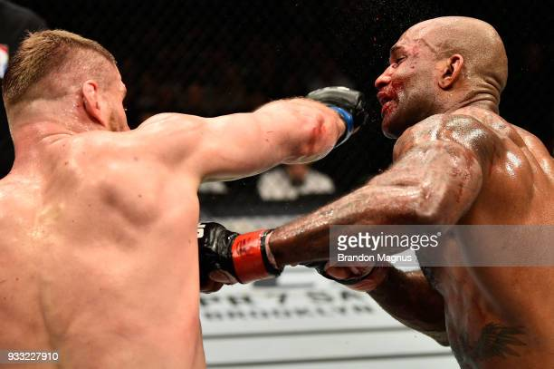 Jan Blachowicz of Poland punches Jimi Manuwa in their light heavyweight bout inside The O2 Arena on March 17 2018 in London England