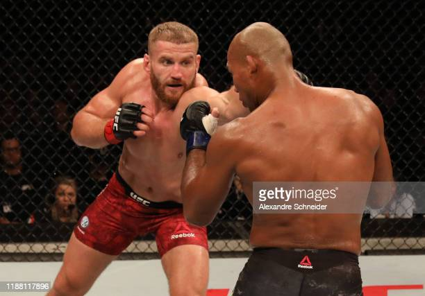 Jan Blachowicz of Poland punches Ronaldo 'Jacare' Souza of Brazil in their light heavyweight fight during the UFC Fight Night event at Ibirapuera...