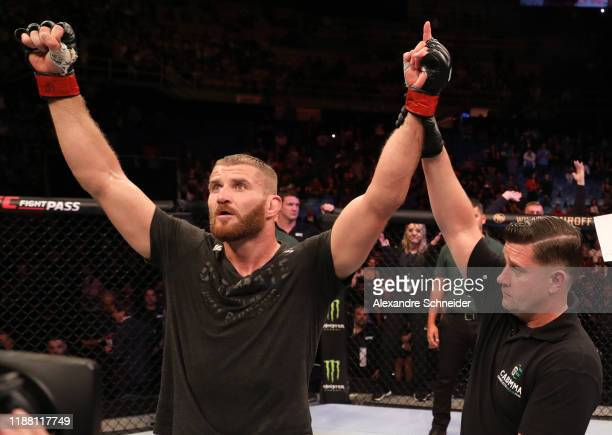 Jan Blachowicz of Poland reacts after his splitdecision victory over Ronaldo 'Jacare' Souza of Brazil in their light heavyweight fight during the UFC...