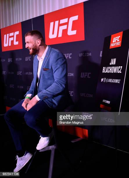 Jan Blachowicz of Poland speaks to the media during the UFC Fight Night Ultimate Media Day in Glaziers Hall on March 15 2018 in London England
