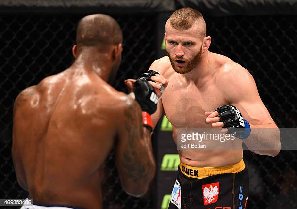 Jan Blachowicz of Poland squares off with Jimi Manuwa of England in their light heavyweight fight during the UFC Fight Night event at the Tauron...