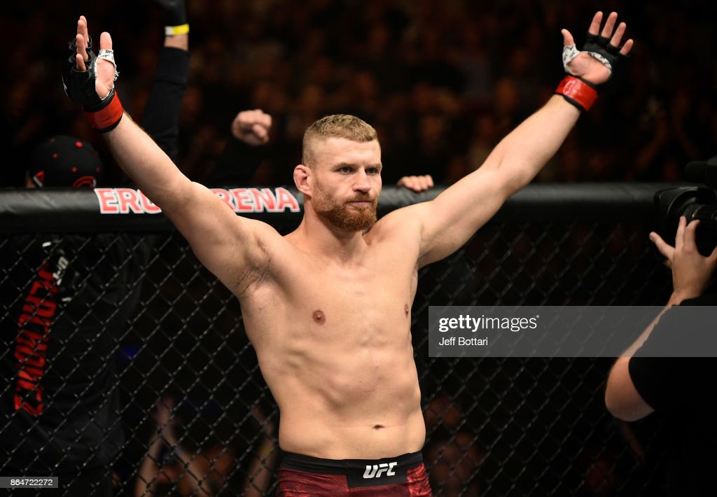 Jan Blachowicz of Poland stands in the Octagon prior to his light heavyweight bout against Devin Clark during the UFC Fight Night event inside Ergo Arena on October 21, 2017 in Gdansk, Poland.