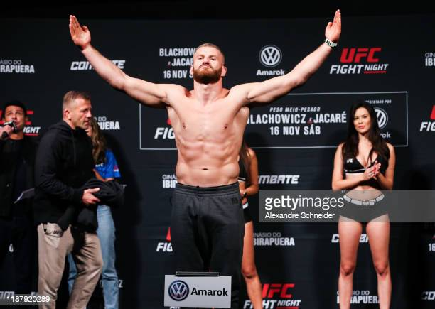 Jan Blachowicz of Poland weighs in during the UFC Fight Night Blachowicz v Jacare Weigh-Ins at Ibirapuera Gymnasium on November 15, 2019 in Sao...