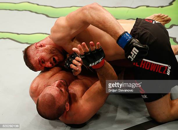 Jan Blachowicz punches Igor Pokrajac in their light heavyweight bout during the UFC Fight Night event at the Arena Zagreb on April 10 2016 in Zagreb...