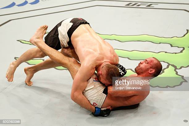 Jan Blachowicz takes down Igor Pokrajac in their light heavyweight bout during the UFC Fight Night event at the Arena Zagreb on April 10 2016 in...