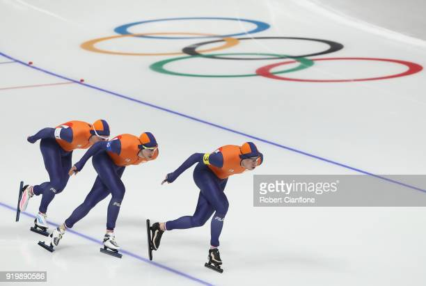 Jan Blokhuijsen Koen Verweij and Sven Kramer of the Netherlands compete during the Men's Team Pursuit Speed Skating Quarter Finals on day nine of the...