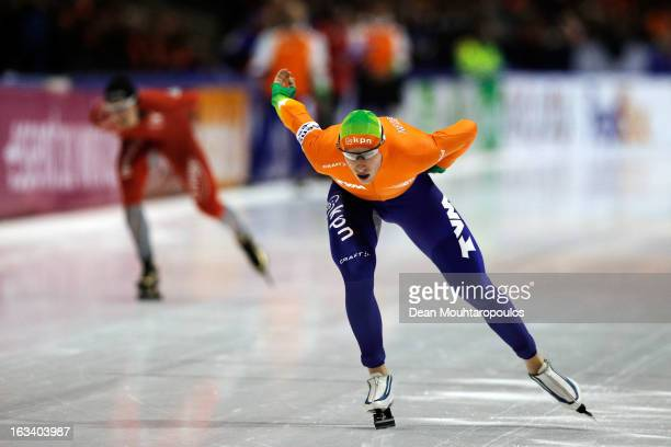 Jan Blokhuijsen of Netherlands competes in the 5000m Mens race on Day 2 of the Essent ISU World Cup Speed Skating Championships 2013 at Thialf...