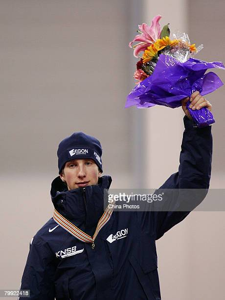 Jan Blokhuijsen of the Netherlands celebrates with his gold medal after the Men's 3000 meters during the ISU World Junior Speed Skating Championships...