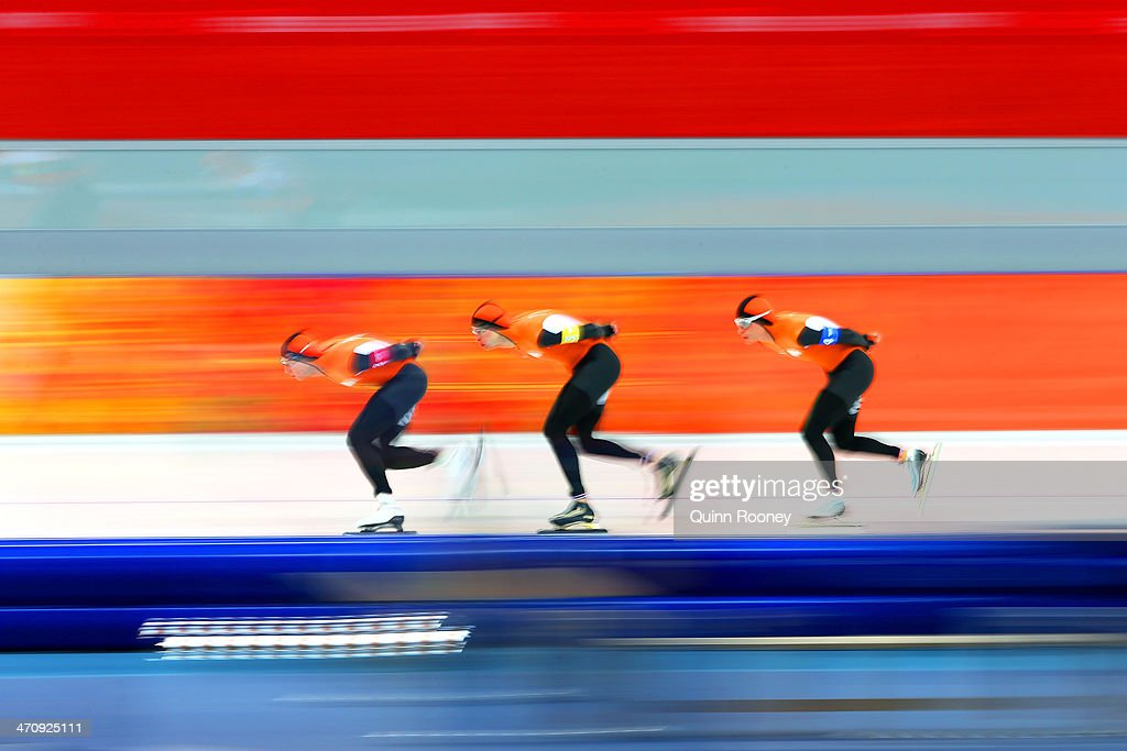 Jan Blokhuijsen, Sven Kramer, Koen Verweij of the Netherlands compete during the Men's Team Pursuit Quarterfinals Speed Skating event on day fourteen of the Sochi 2014 Winter Olympics at Adler Arena Skating Center on February 21, 2014 in Sochi, Russia.