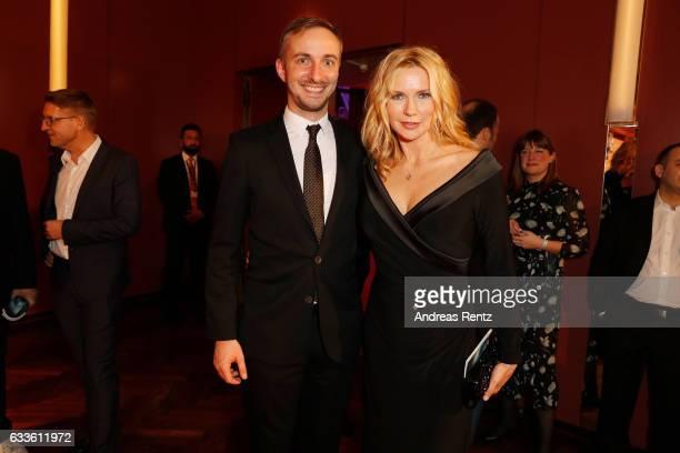 Jan Boehmermann and Veronica Ferres attend the German Television Award at Rheinterrasse on February 2 2017 in Duesseldorf Germany