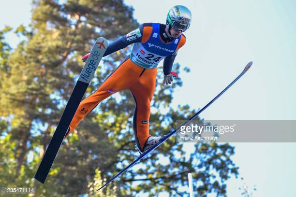 Jan Bombek of Slovenia competes during the FIS Grand Prix Skijumping Hinzenbach at on February 6, 2021 in Eferding, Austria.