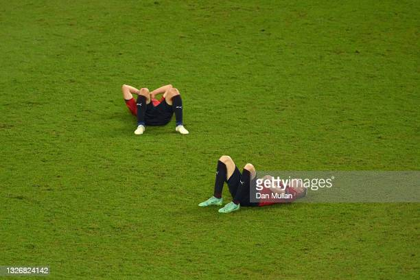 Jan Boril and Matej Vydra of Czech Republic look dejected after the UEFA Euro 2020 Championship Quarter-final match between Czech Republic and...