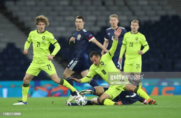 Jan Boril of Czech Republic collides with John McGinn of Scotland during the UEFA Nations League group stage match between Scotland and Czech...