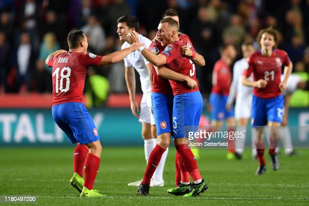 Jan Boril , Vladimir Coufal and Ondrej Celustka of Czech Republic celebrate after the UEFA Euro 2020 qualifier between Czech Republic and England at...
