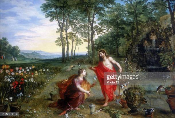 Jan Brueghel or Breughel the Younger and Hendrick van Balen Noli me tangere Private collection Mary Magdalene the first to see the risen Christ in...