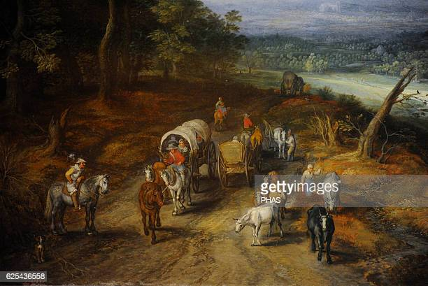 Jan Brueghel the Elder 15681625 Flemish Painter Country Road Oil on panel Barroque The State Hermitage Museum Saint Petersburg Russia Detail