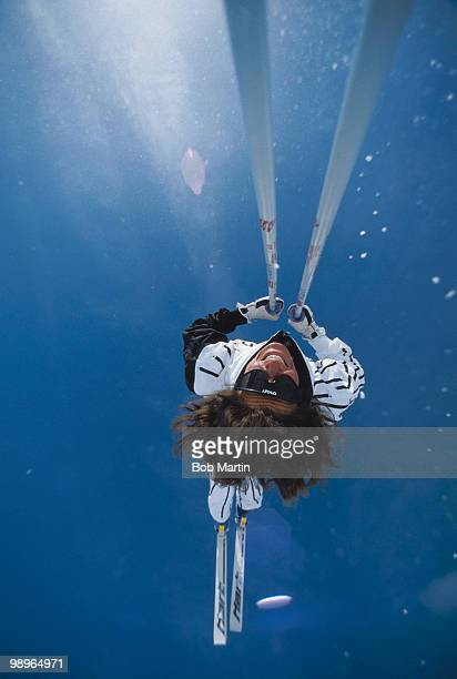 Jan Bucher performs a ski ballet movement during the first Freestyle Skiing World Championship on 10 February 1986 in Tignes FranceVisions of Sport