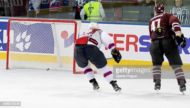 Jan Buchtele of HC Sparta Prague shoots a goal during the Champions Hockey League group stage game between Sparta Prague and Adler Mannheim on...