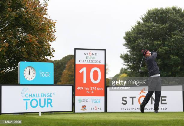 Jan Cafourek of Czech Republic plays his tee shot on the 1st hole during Day One of the Stone Irish Challenge at Headfort Golf Club on October 10...
