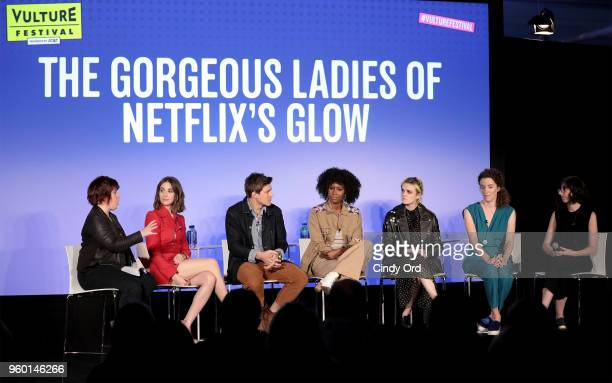 Jan Chaney Alison Brie Chris Lowell Sydelle Noel Gayle Rankin Liz Flahive and Carly Mensch speak onstage during Vulture Festival presented by ATT The...