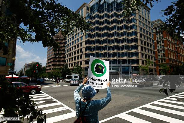 Jan Chastain joined about 50 demonstrators gathred across the street from the Washington offices of oil giant BP to protest the company's handling of...